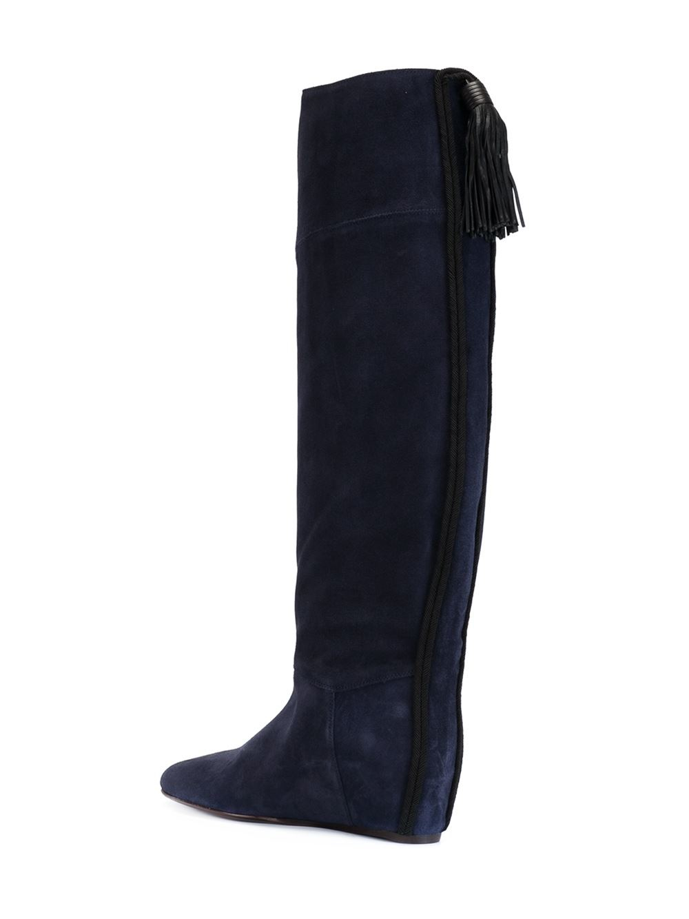 lanvin concealed wedge tassel boots in blue lyst