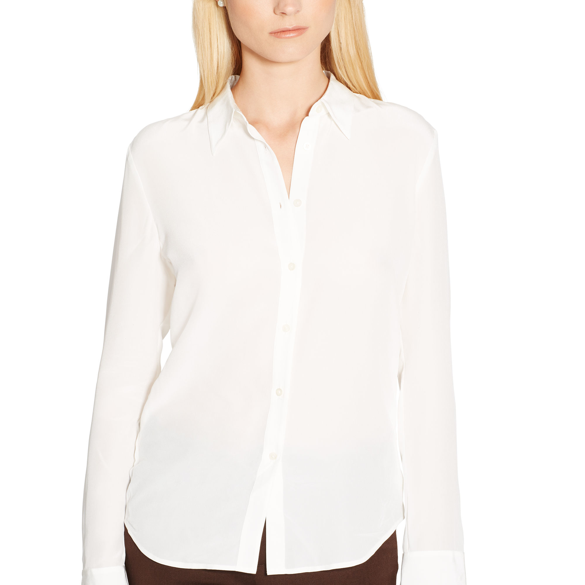 Lyst Ralph Lauren Silk Crepe Button Down Shirt In White