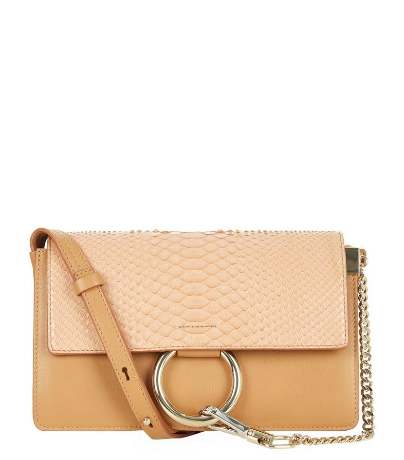 chloe faye python and leather shoulder bag