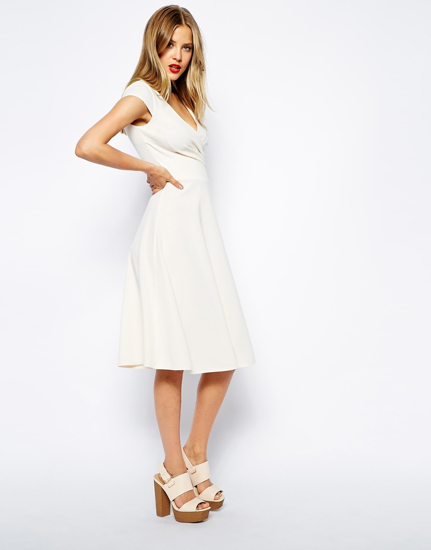 Asos Midi Skater Dress With Full Skirt And Wrap Front In Ponte in ...