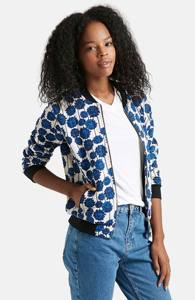 Topshop &39Floral Shoto&39 Bomber Jacket in Blue | Lyst
