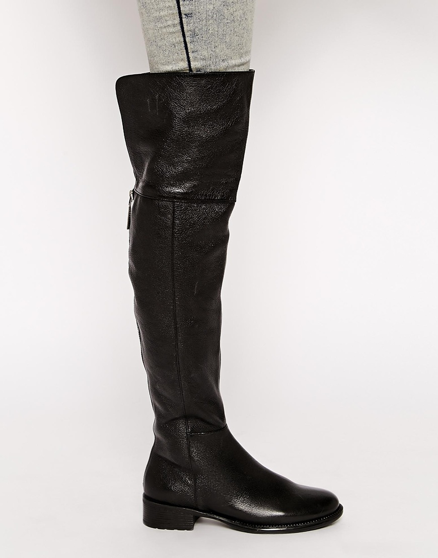 Lyst - Dune Torz Black Flat Over The Knee Riding Boots In -5641