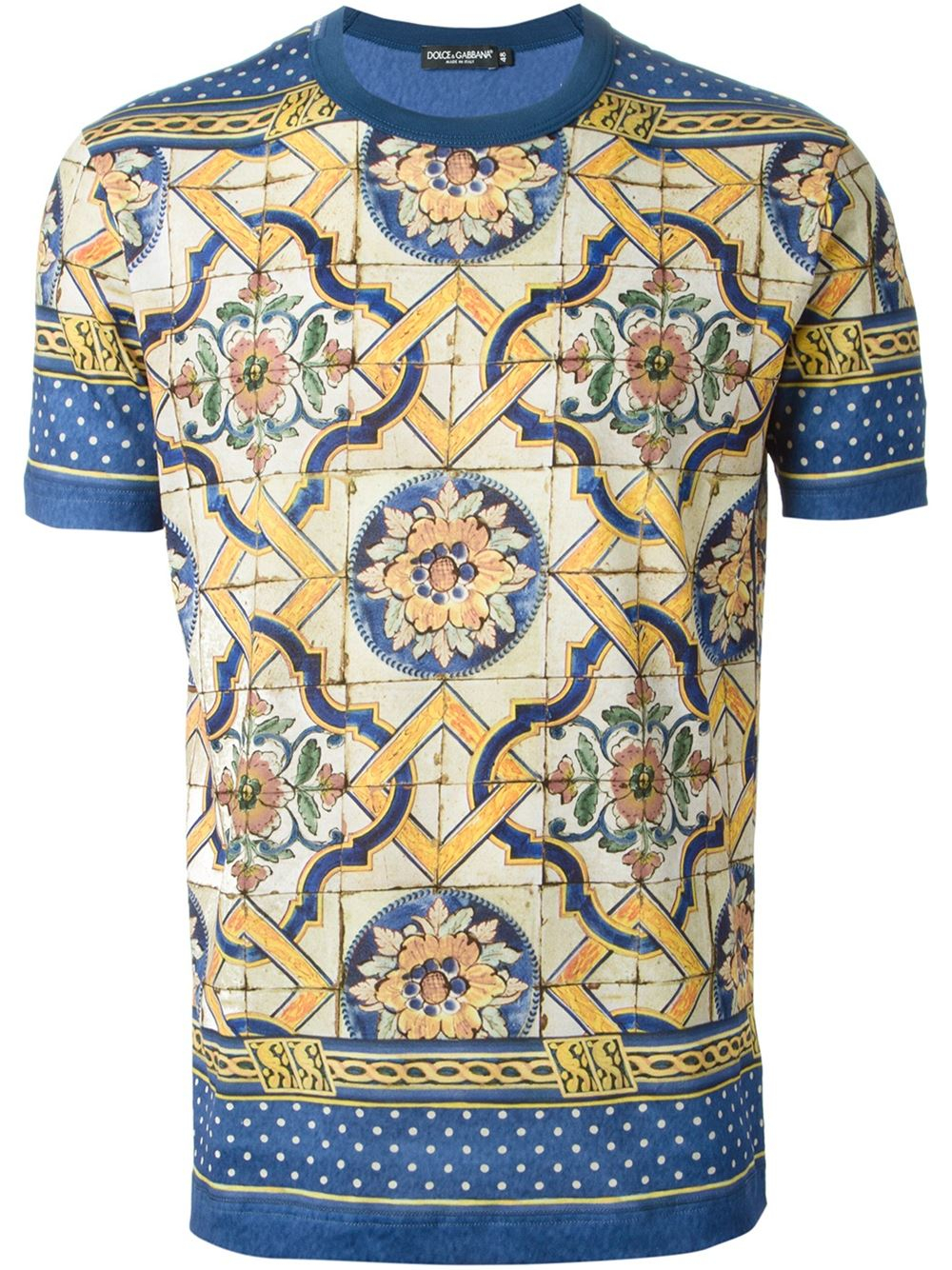 dolce gabbana majolica print t shirt in blue for men lyst