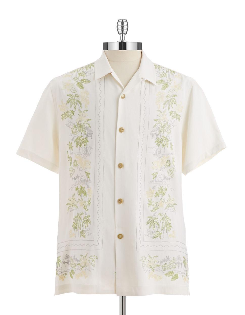 Tommy Bahama Silk Hawaiin Sportshirt In White For Men