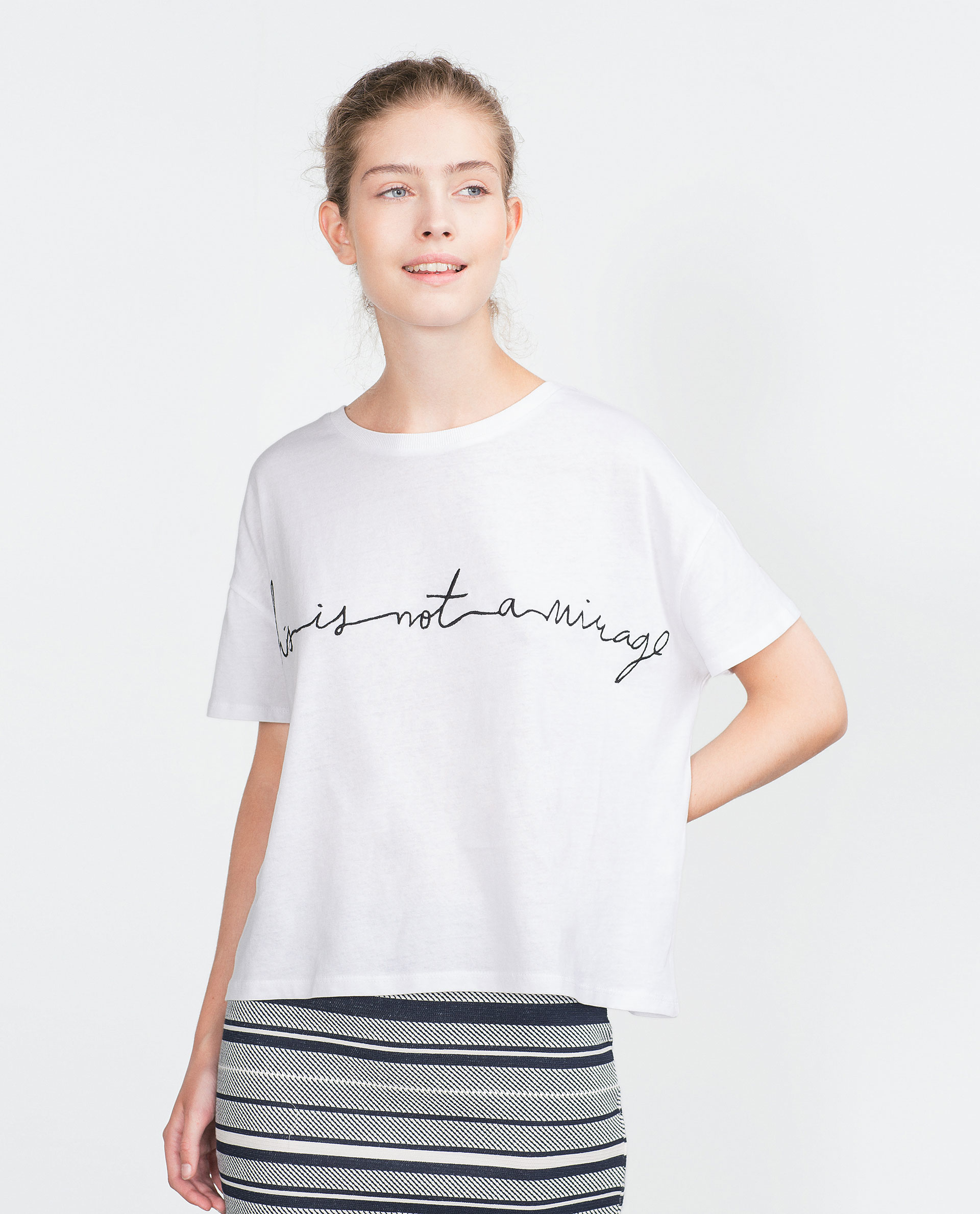 Zara t shirt with embroidered text in white lyst
