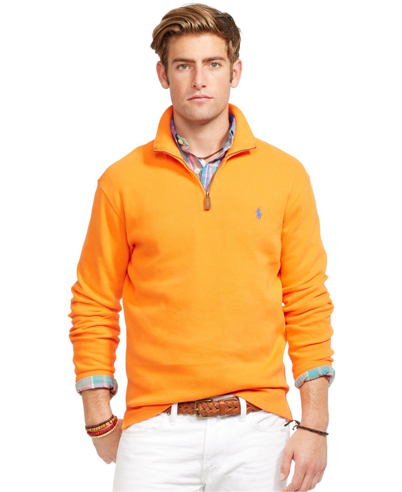 polo ralph lauren french rib mockneck pullover in orange for men bright papaya lyst. Black Bedroom Furniture Sets. Home Design Ideas