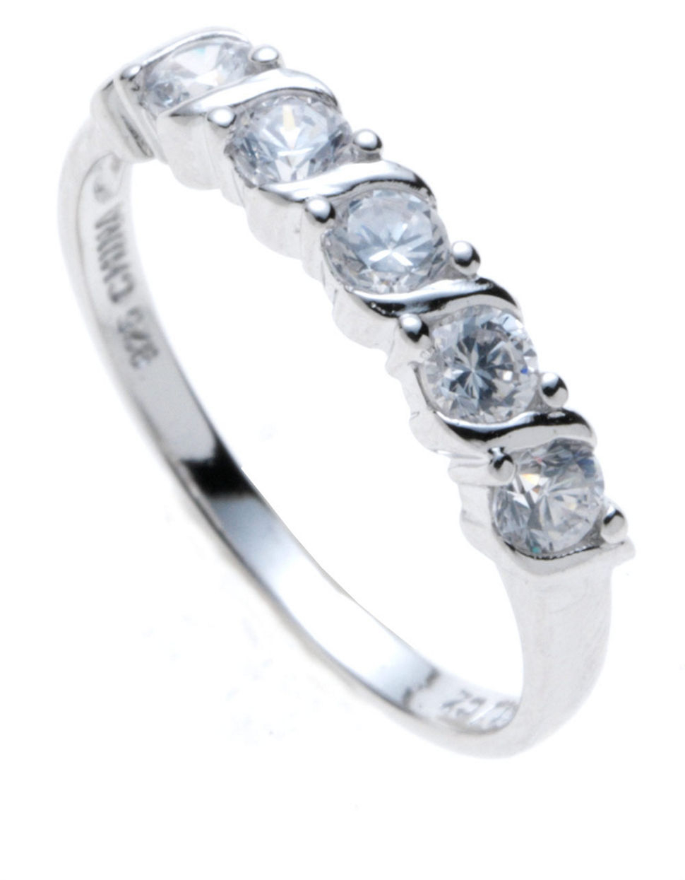 Sterling Silver And Cubic Zirconia Five Stone Ring In Metallic Lyst
