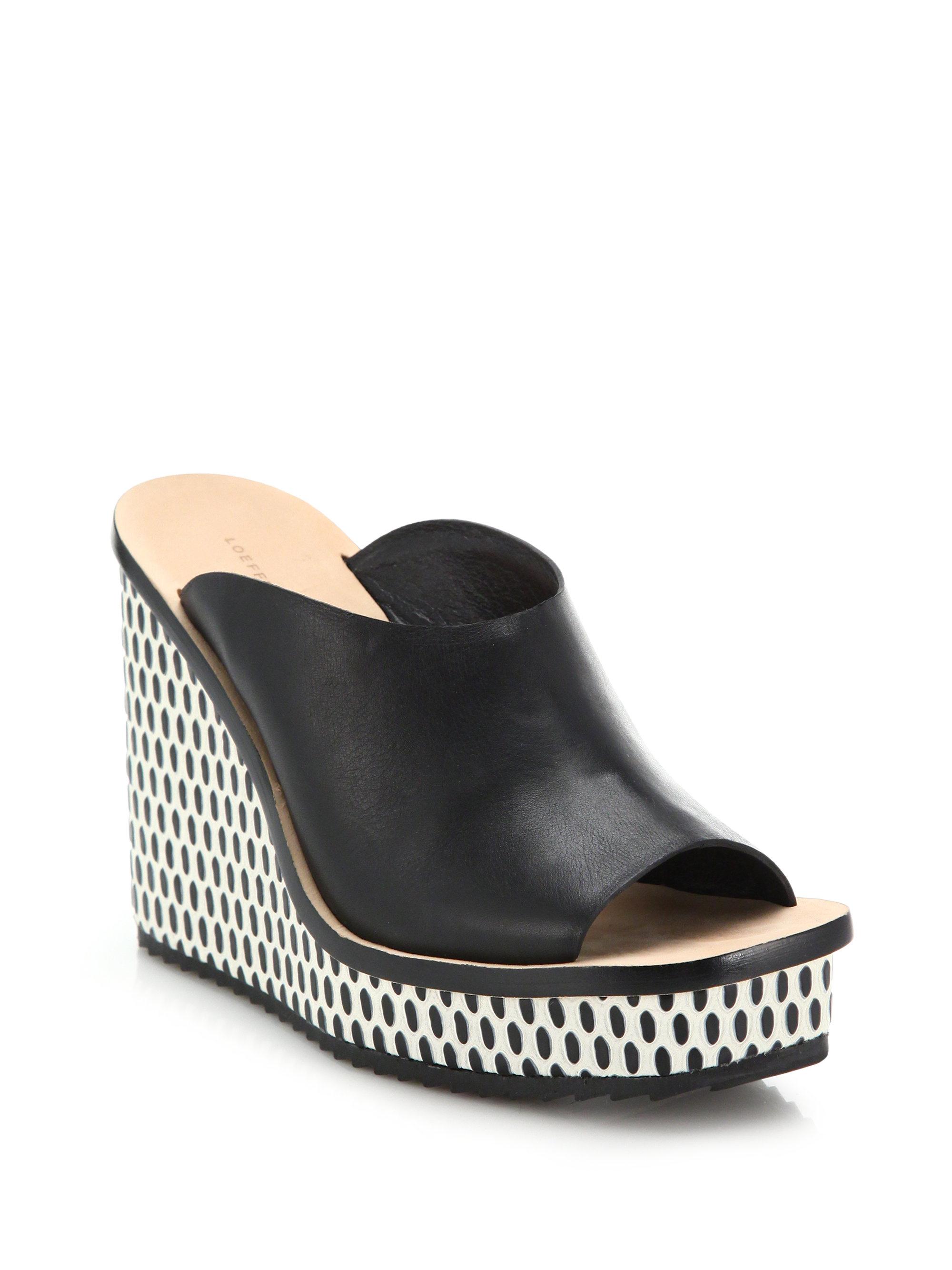 loeffler randall ingrid leather patterned wedge mule