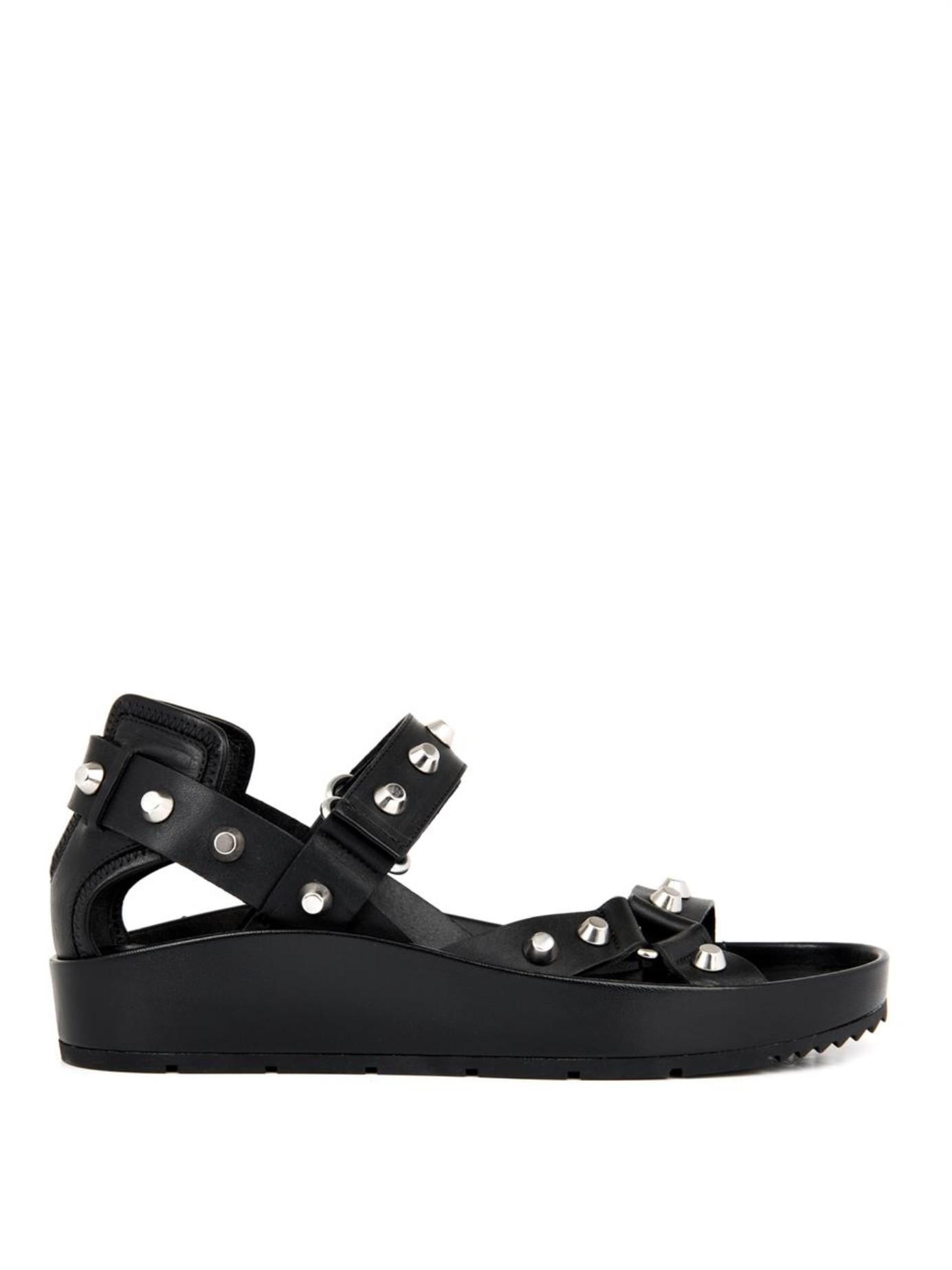 959b780a847a Balenciaga Arena Stud Leather Platform Sandals in Black - Lyst