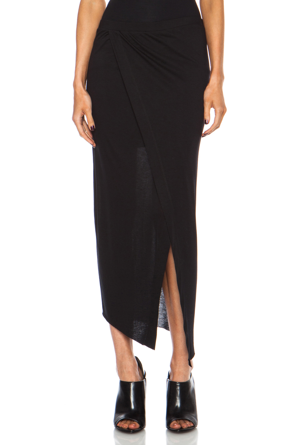 Helmut lang Kinetic Jersey Long Wrap Skirt in Black | Lyst
