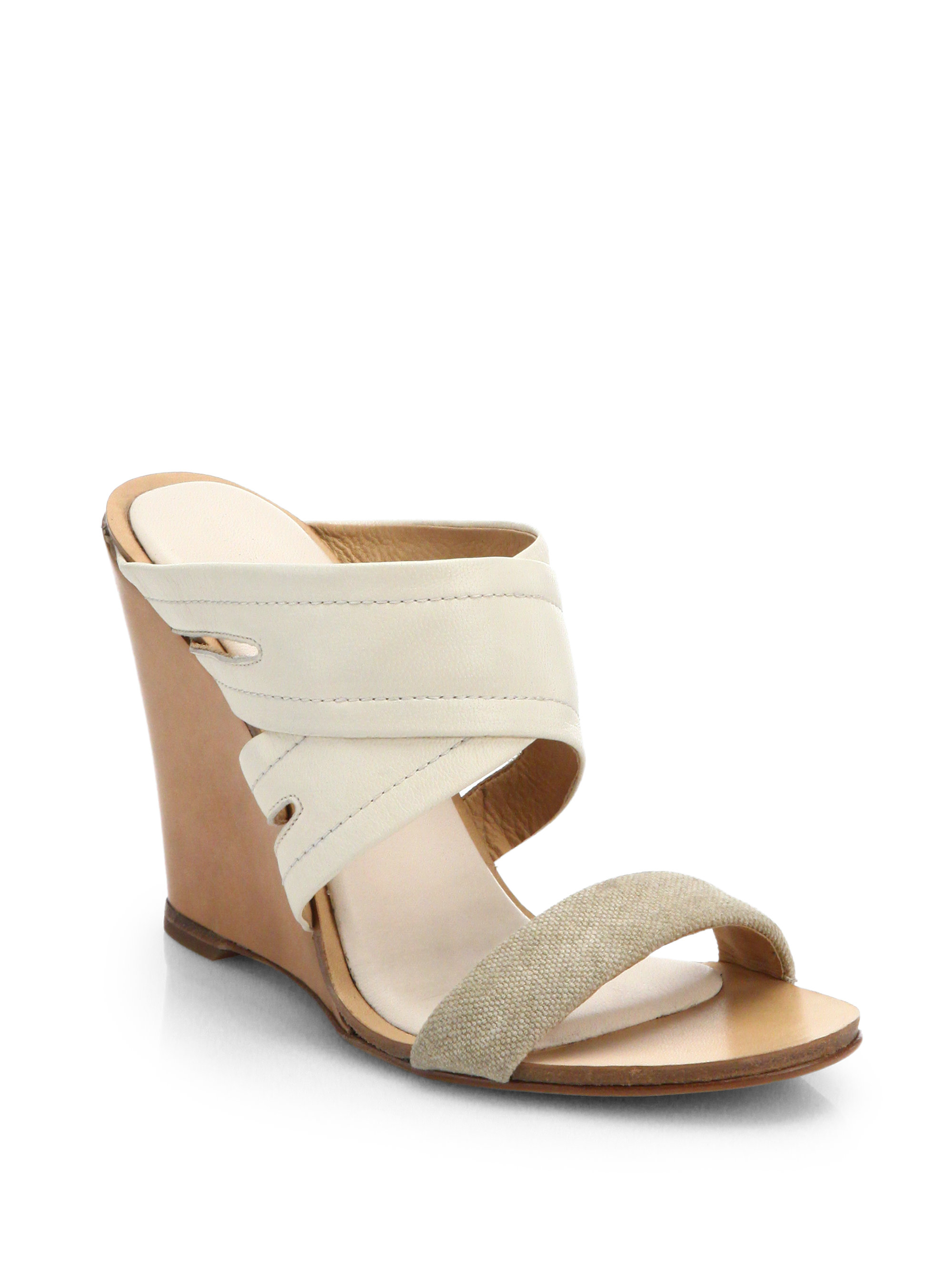 bbbd2f652ea Lyst - Rag   Bone Shaw Mule Wedge Sandals in Natural