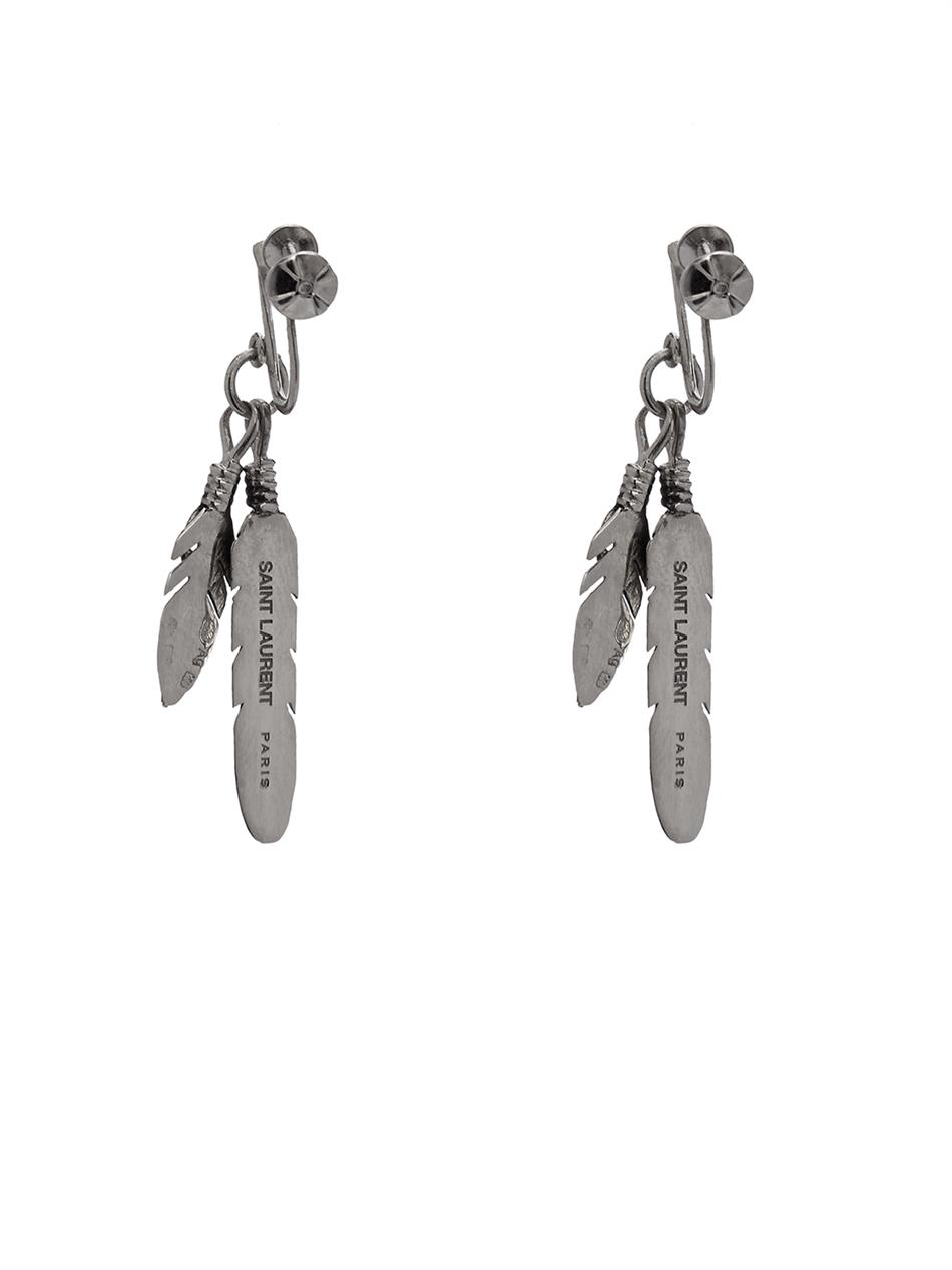 Lyst Saint Laurent Feather Silver Earrings In Metallic