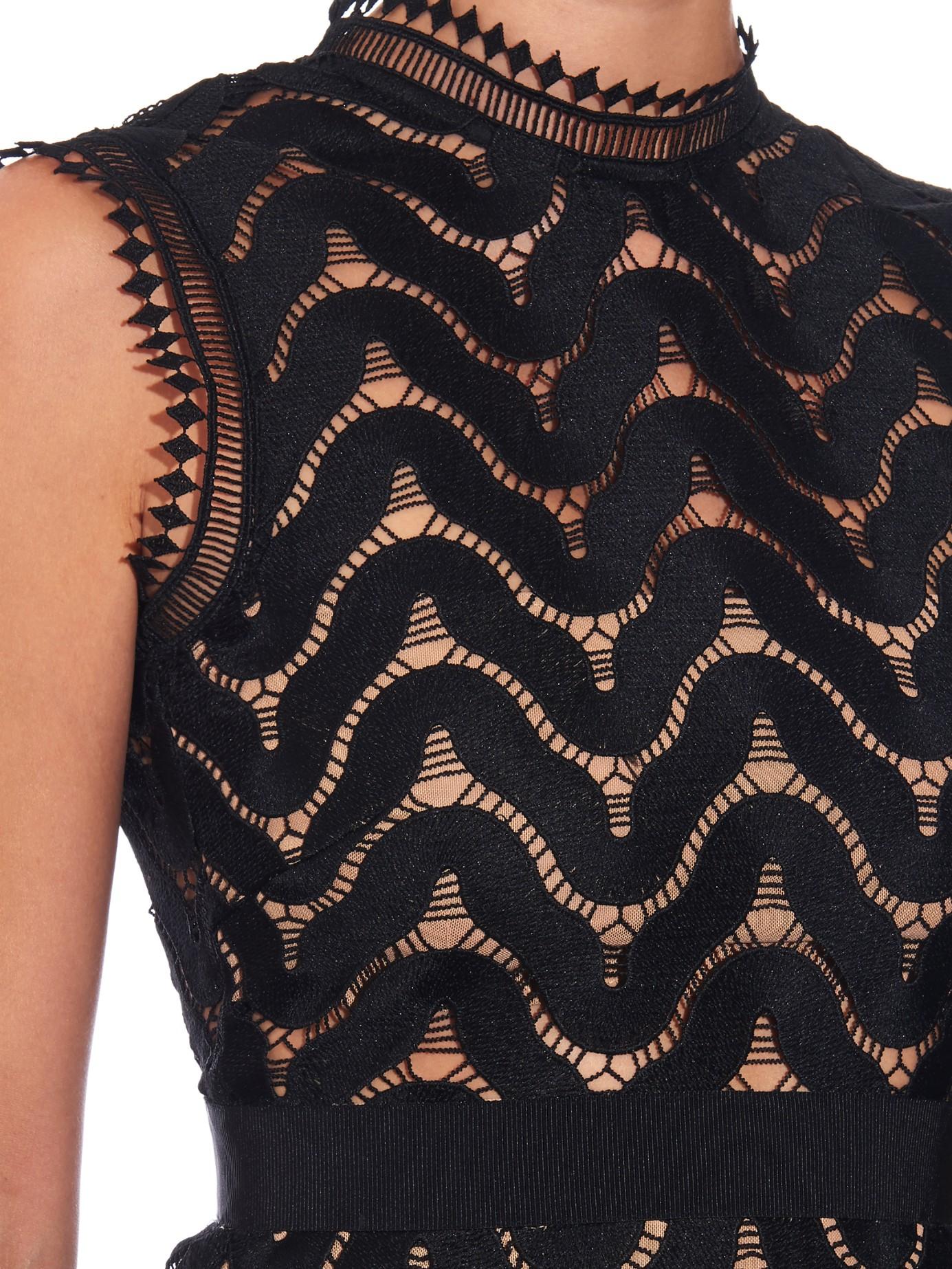 74e874bacc949 Lyst - Self-Portrait Open-back Wave-lace Midi Dress in Black