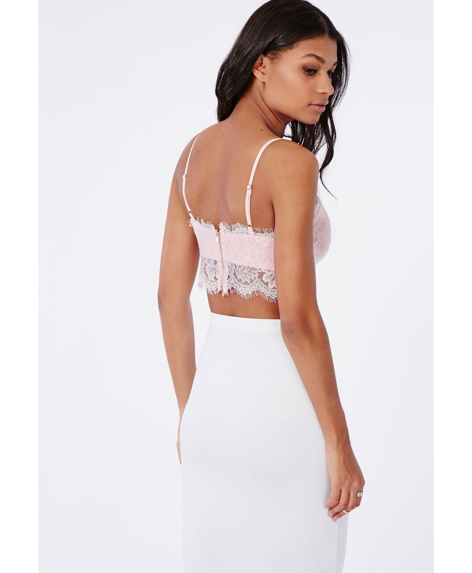9a417b31be8bc Lyst - Missguided Neilina Baby Pink Lace Bralet in Pink