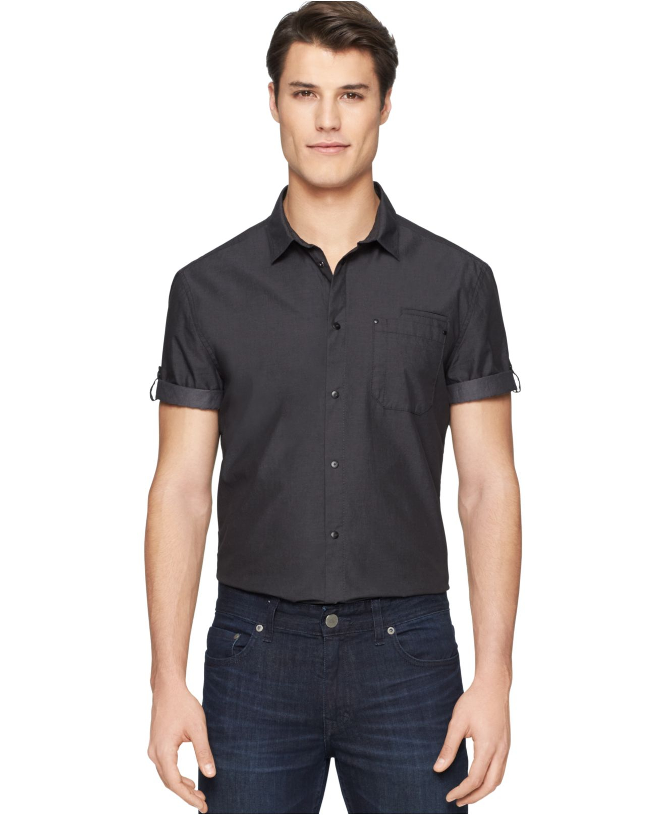 calvin klein jeans chambray utility shirt in black for men. Black Bedroom Furniture Sets. Home Design Ideas