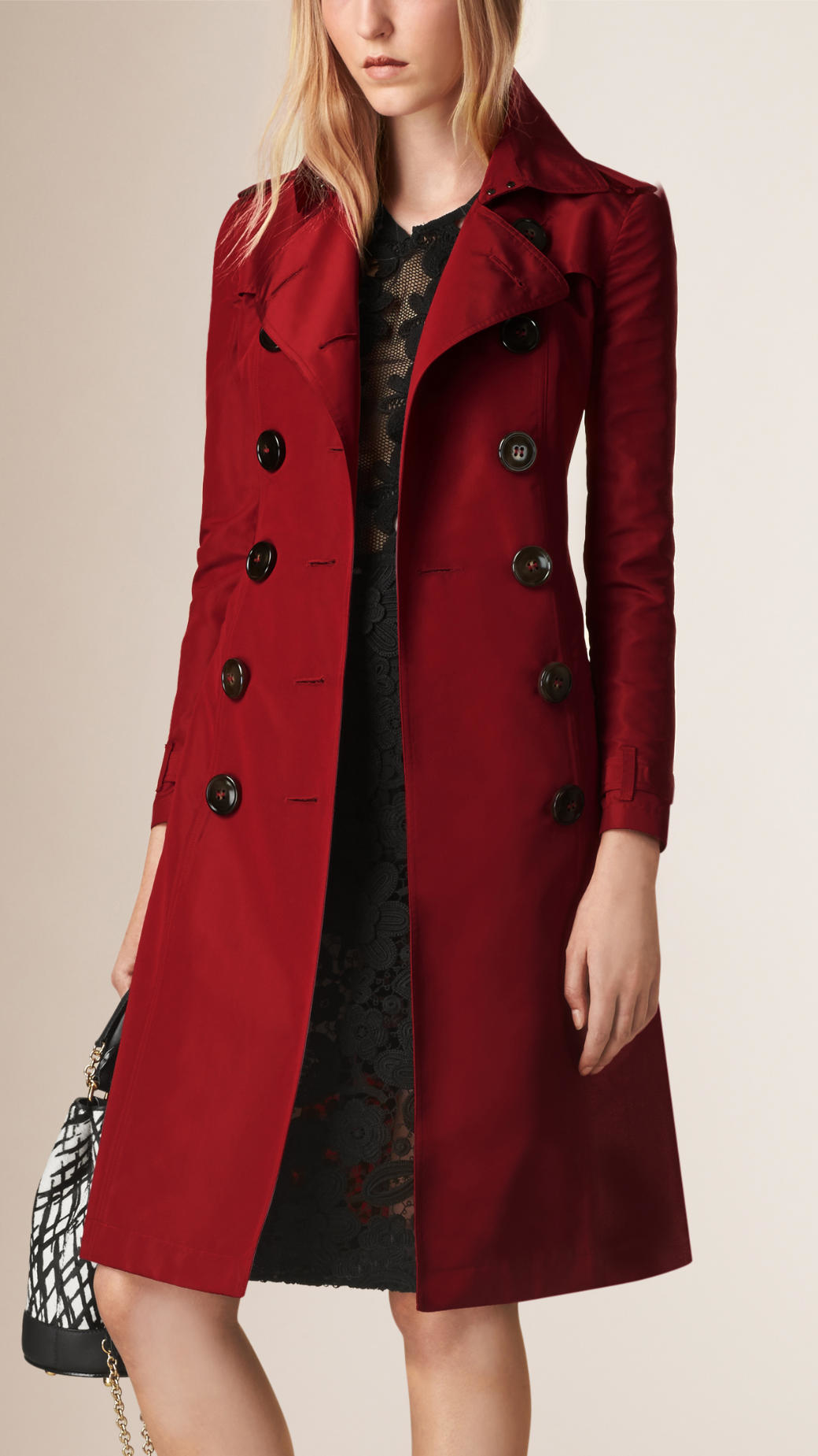 Burberry Silk Faille Trench Coat Dark Plum Pink in Red | Lyst