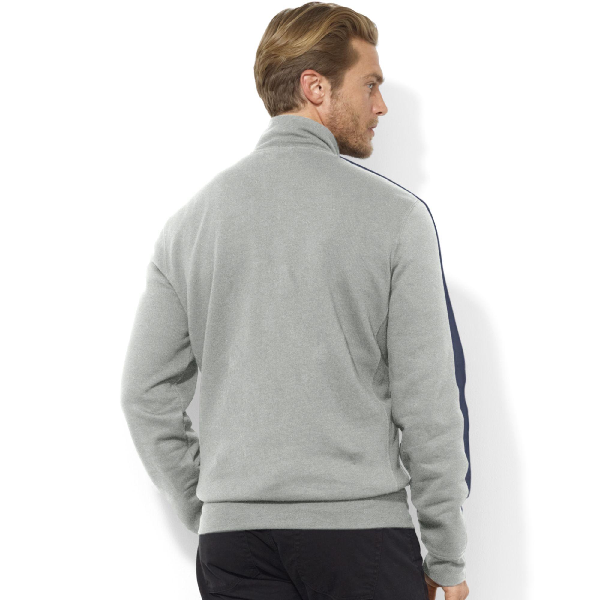 Ralph Lauren Zip Front Mock Neck Fleece Jacket in Gray for