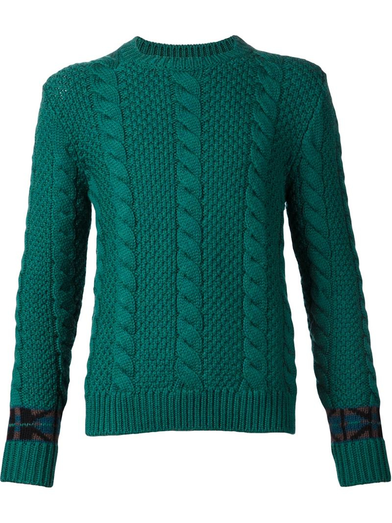 Umit benan Cable Knit Sweater in Green for Men | Lyst