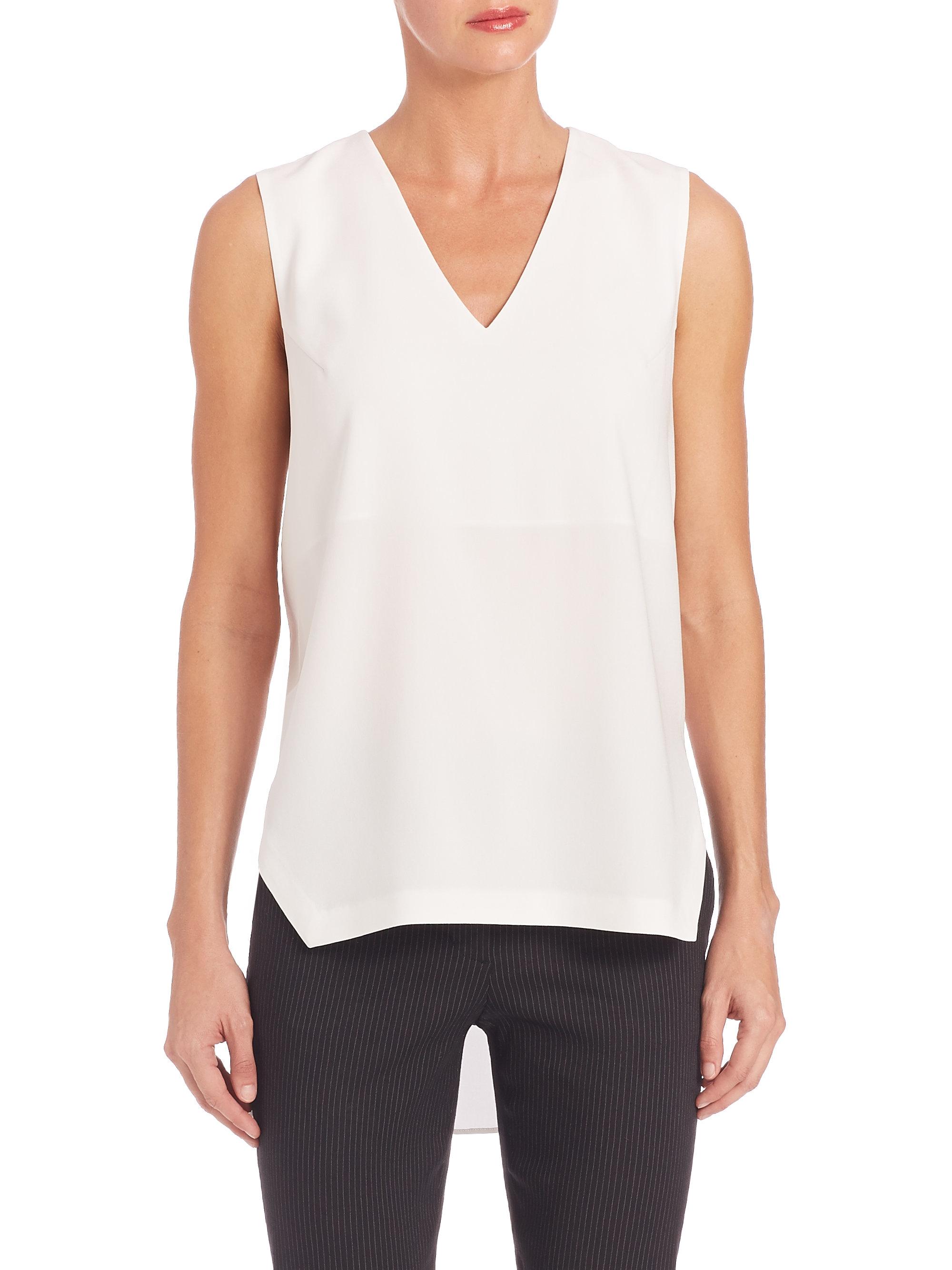 Dkny draped back v neck shirt in white lyst for V neck back shirt