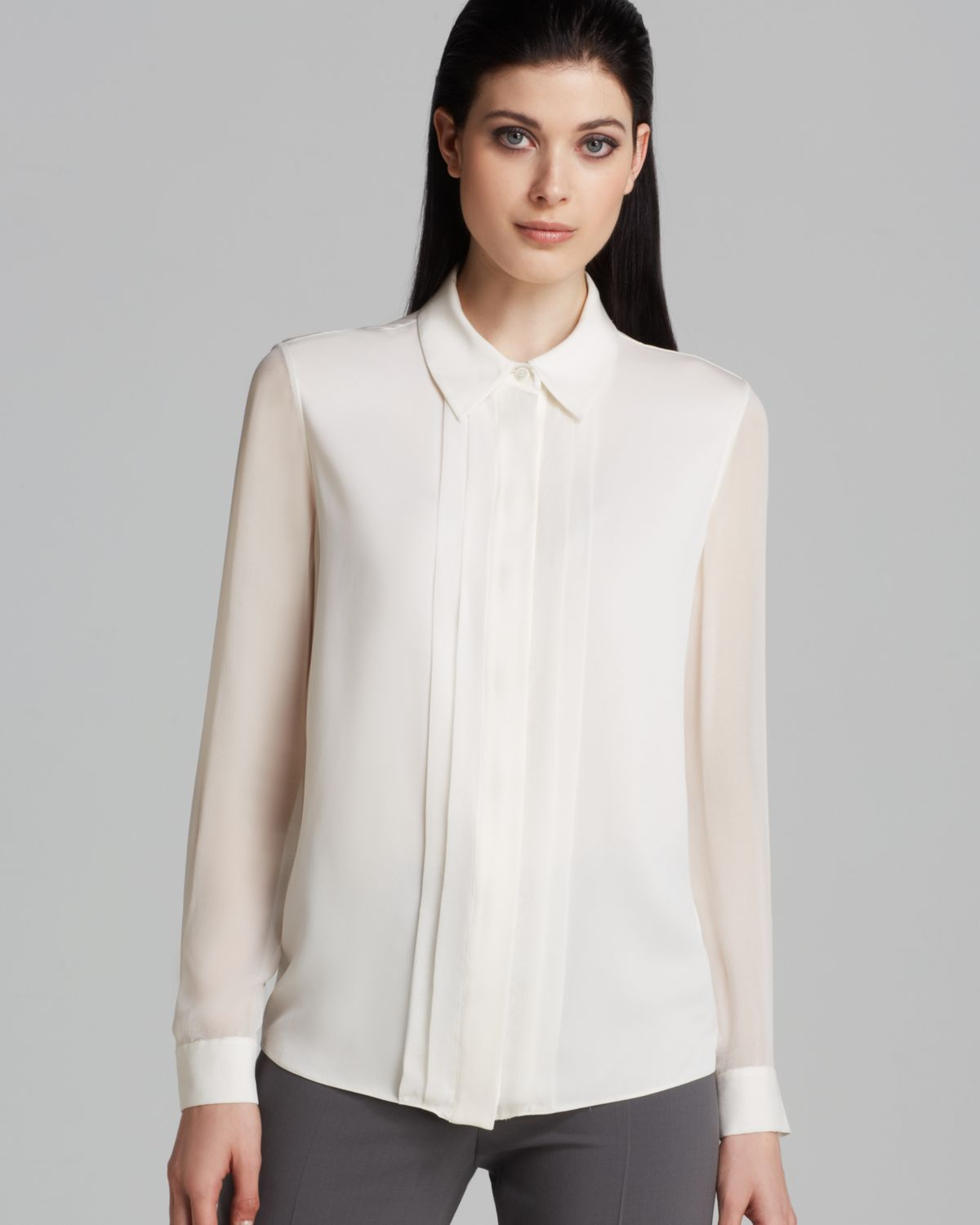 Armani Blouse - Sheer Sleeve in White | Lyst