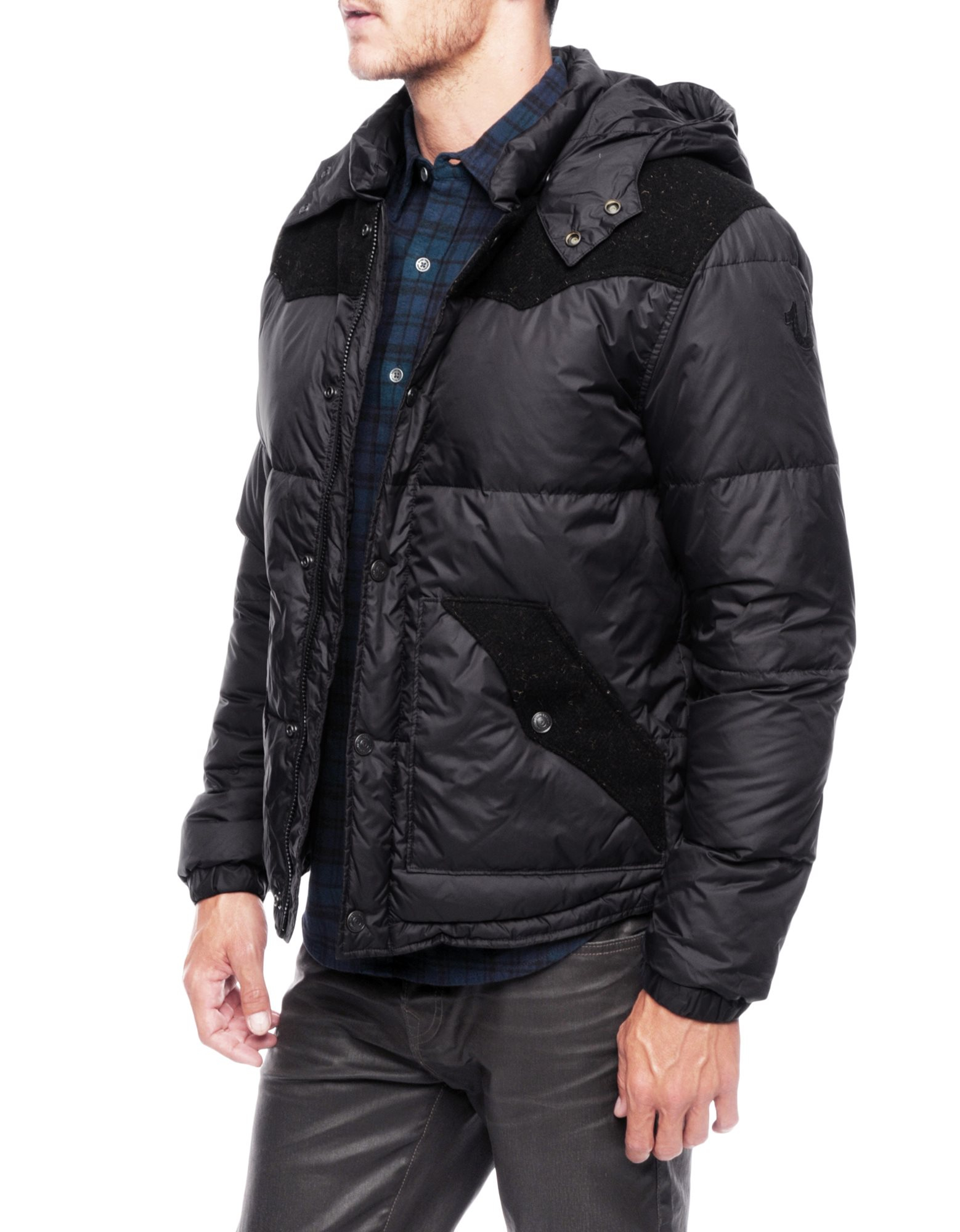 true religion contrast mens puffer jacket in black for men. Black Bedroom Furniture Sets. Home Design Ideas