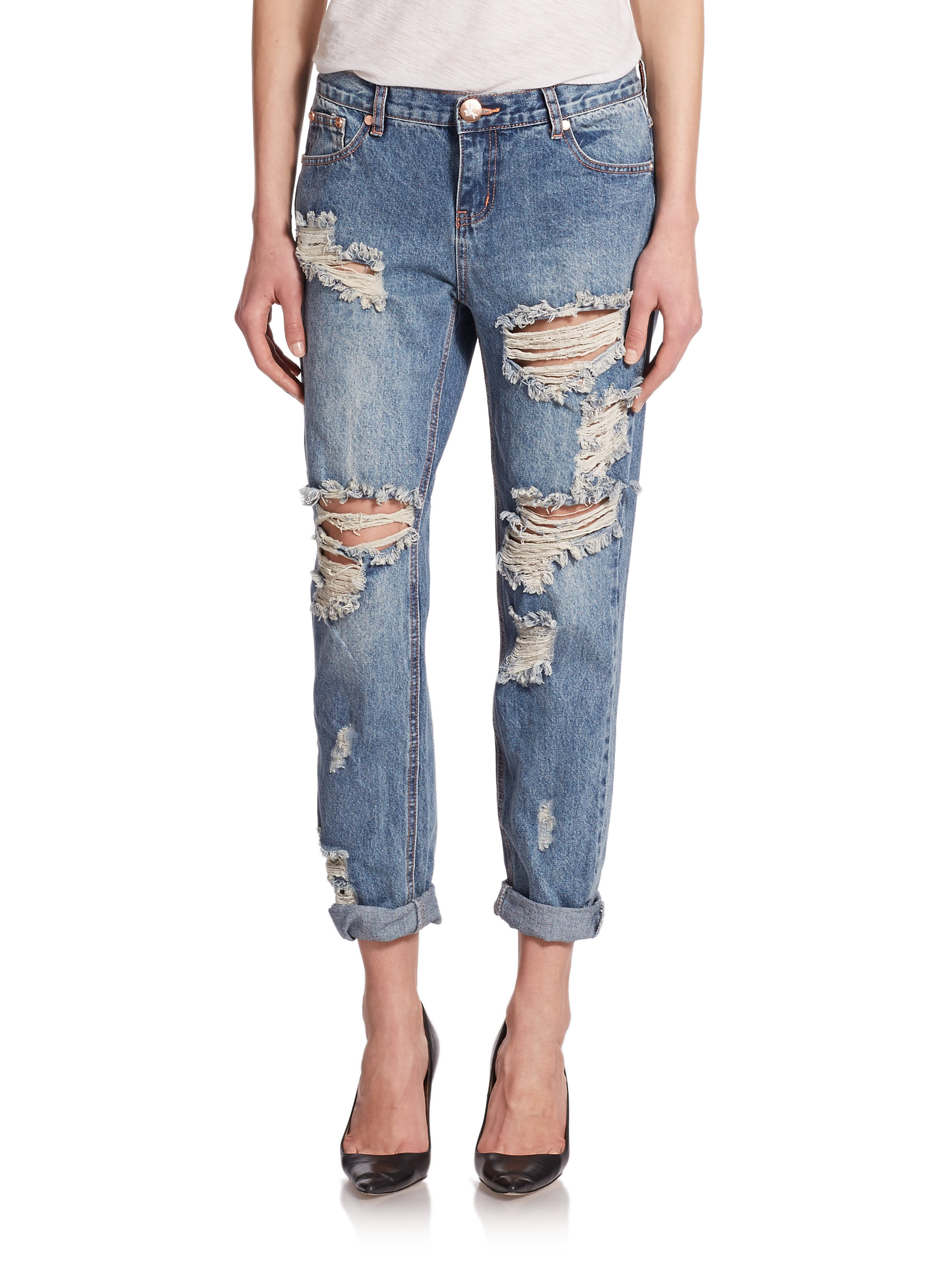 one teaspoon awesome baggies distressed boyfriend jeans in blue brave lyst. Black Bedroom Furniture Sets. Home Design Ideas