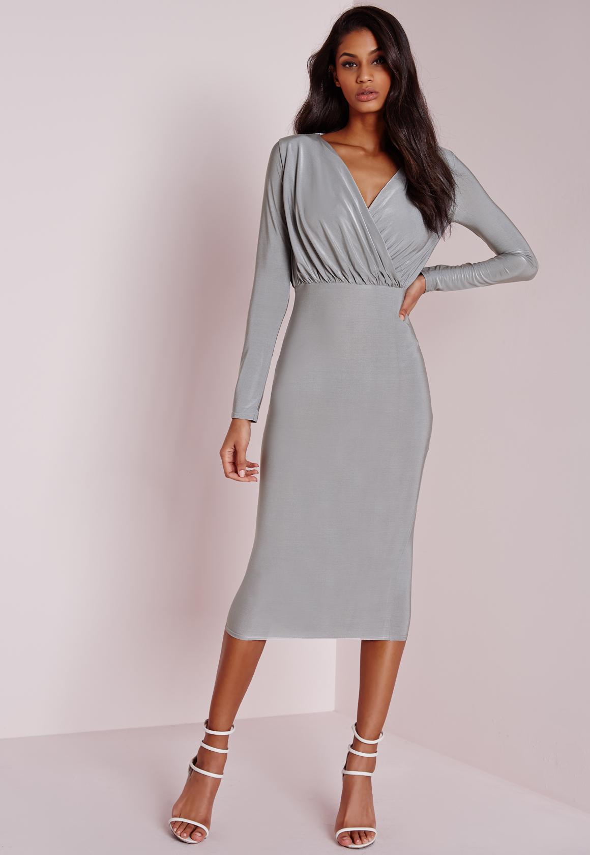 Lyst - Missguided Slinky Wrap Midi Dress Grey in Gray 255c95bbf971