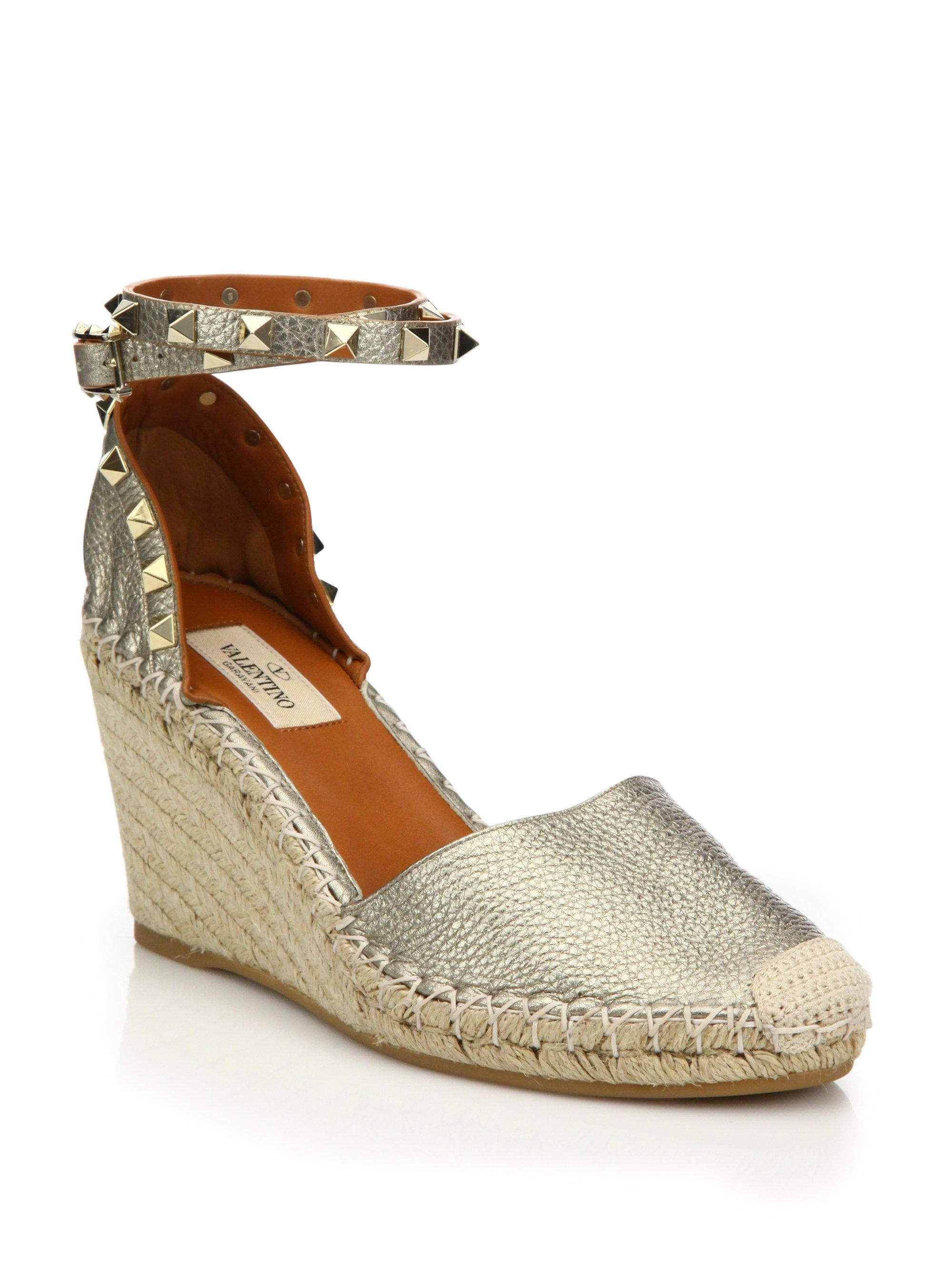 102e758d102 Valentino Rockstud Metallic Leather Espadrille Wedge Sandals