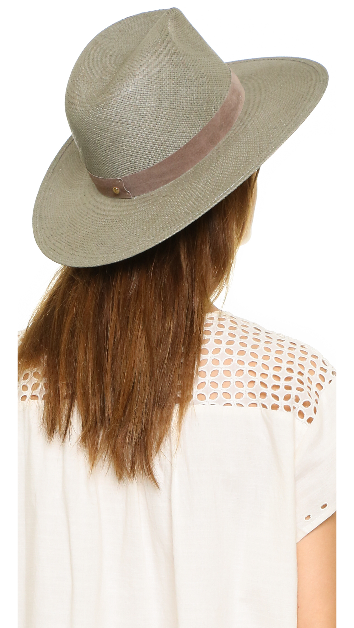 a301595e Janessa Leone Bryony Short Brimmed Panama Hat in Green - Lyst