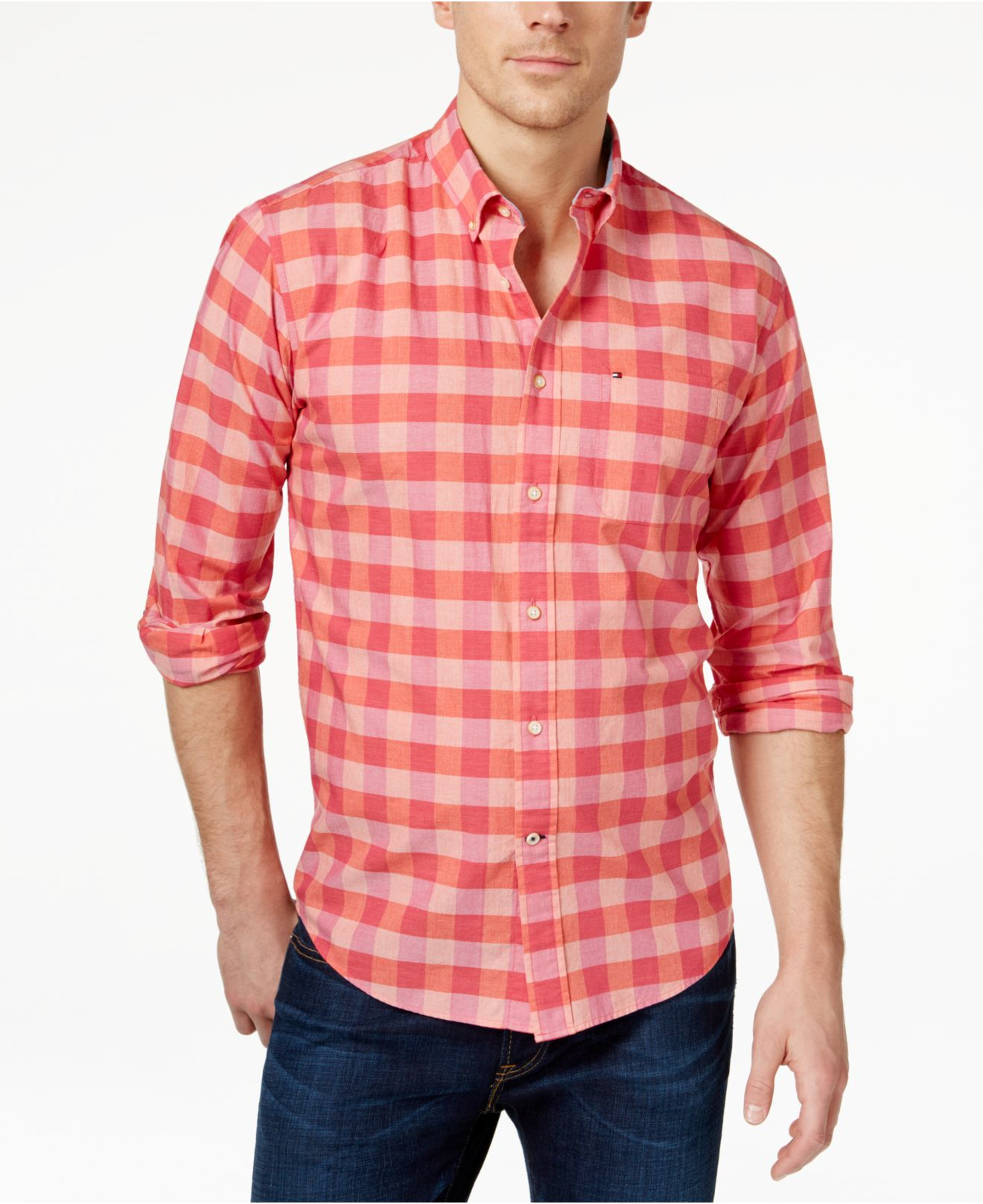 Tommy hilfiger Men's Alonza Long-sleeve Checked Shirt in Pink for ...