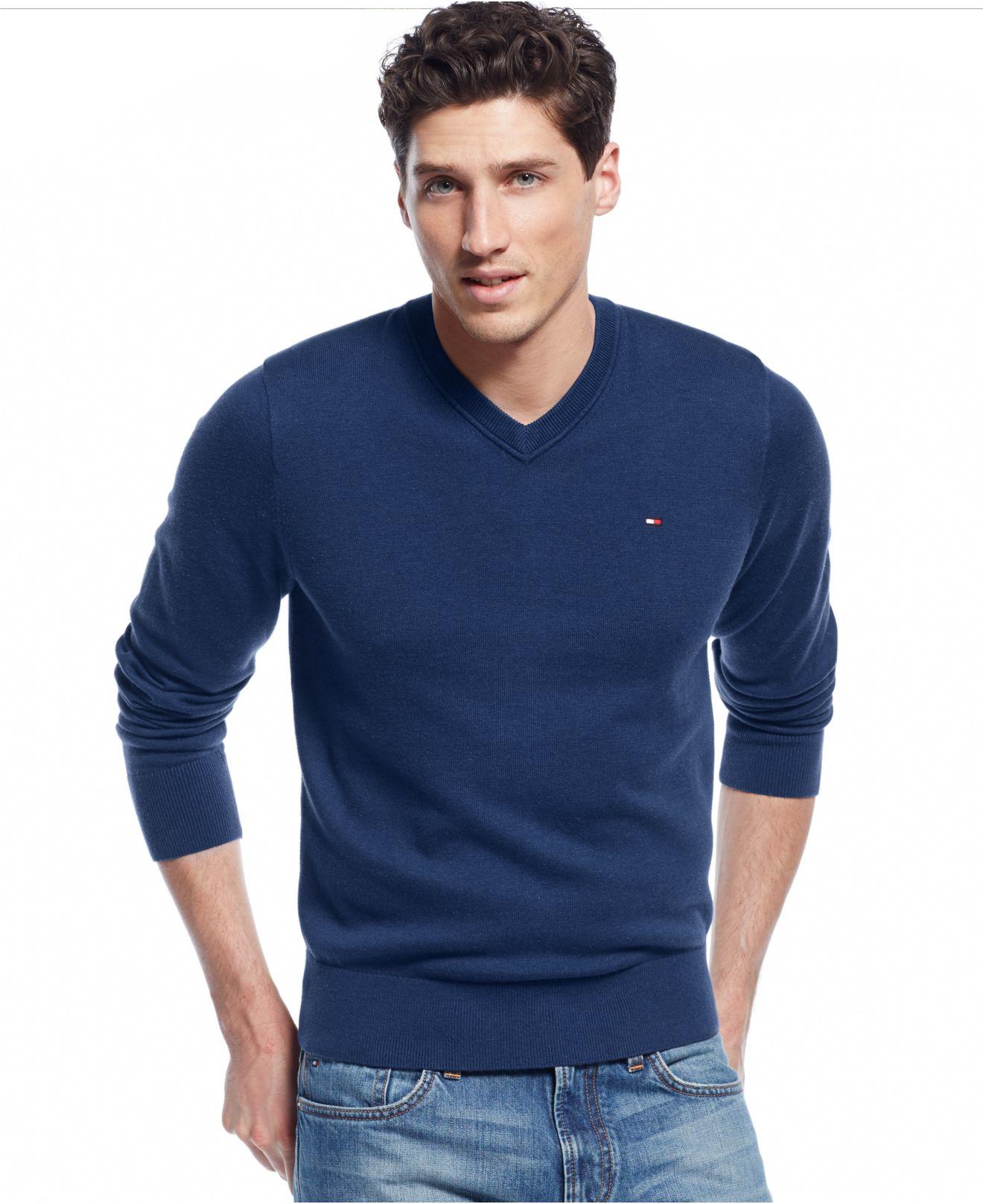 tommy hilfiger blue signature solid v neck sweater for. Black Bedroom Furniture Sets. Home Design Ideas