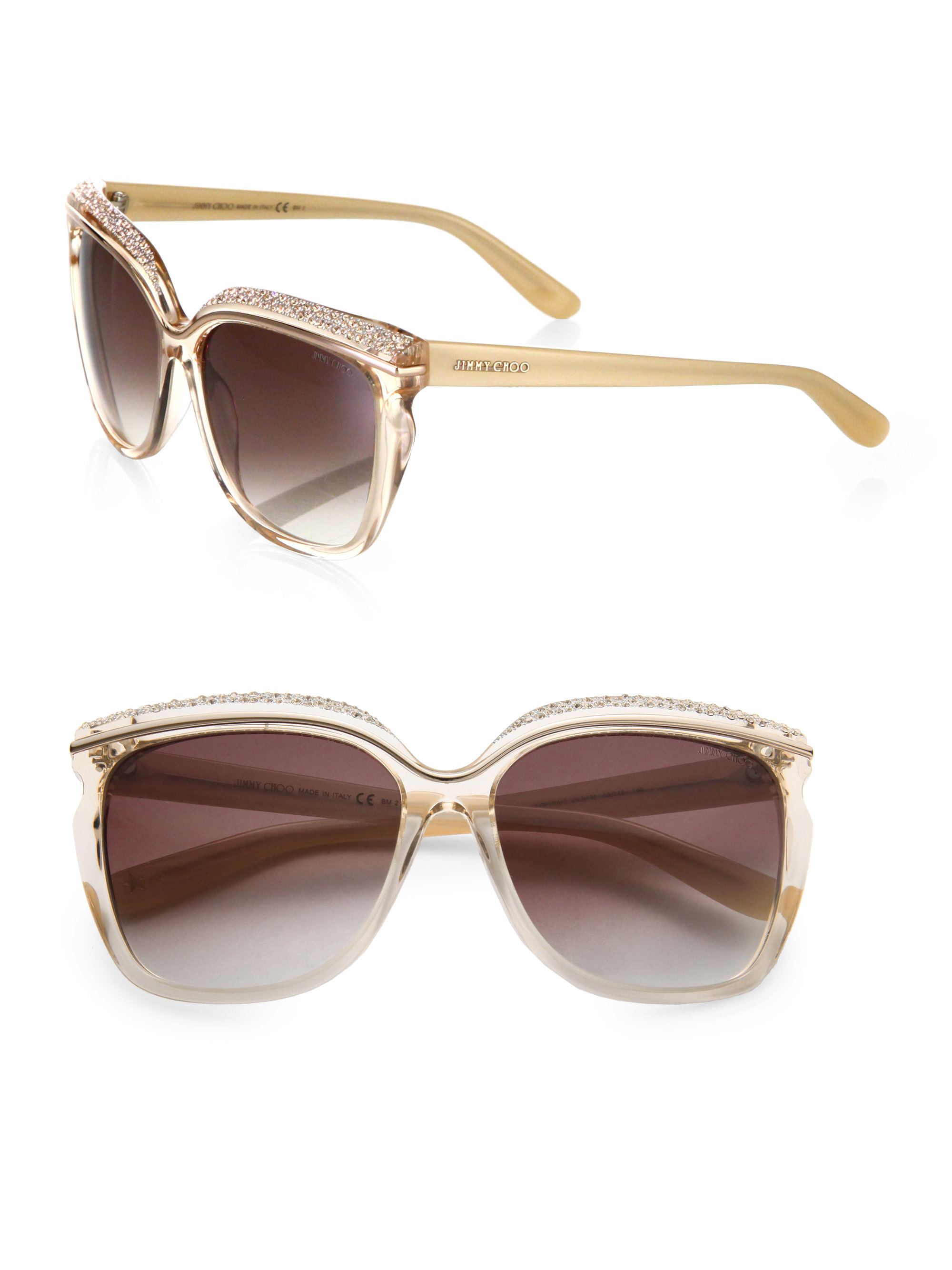Jimmy Choo Oversized Crystal Embellished Sunglasses In Natural Lyst