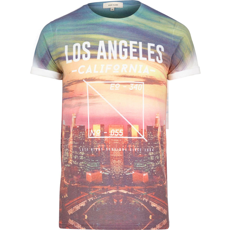 River Island Orange Los Angeles California Print T Shirt