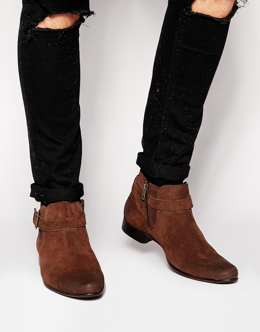 Asos Chelsea Boots In Brown Suede With Buckle Strap In