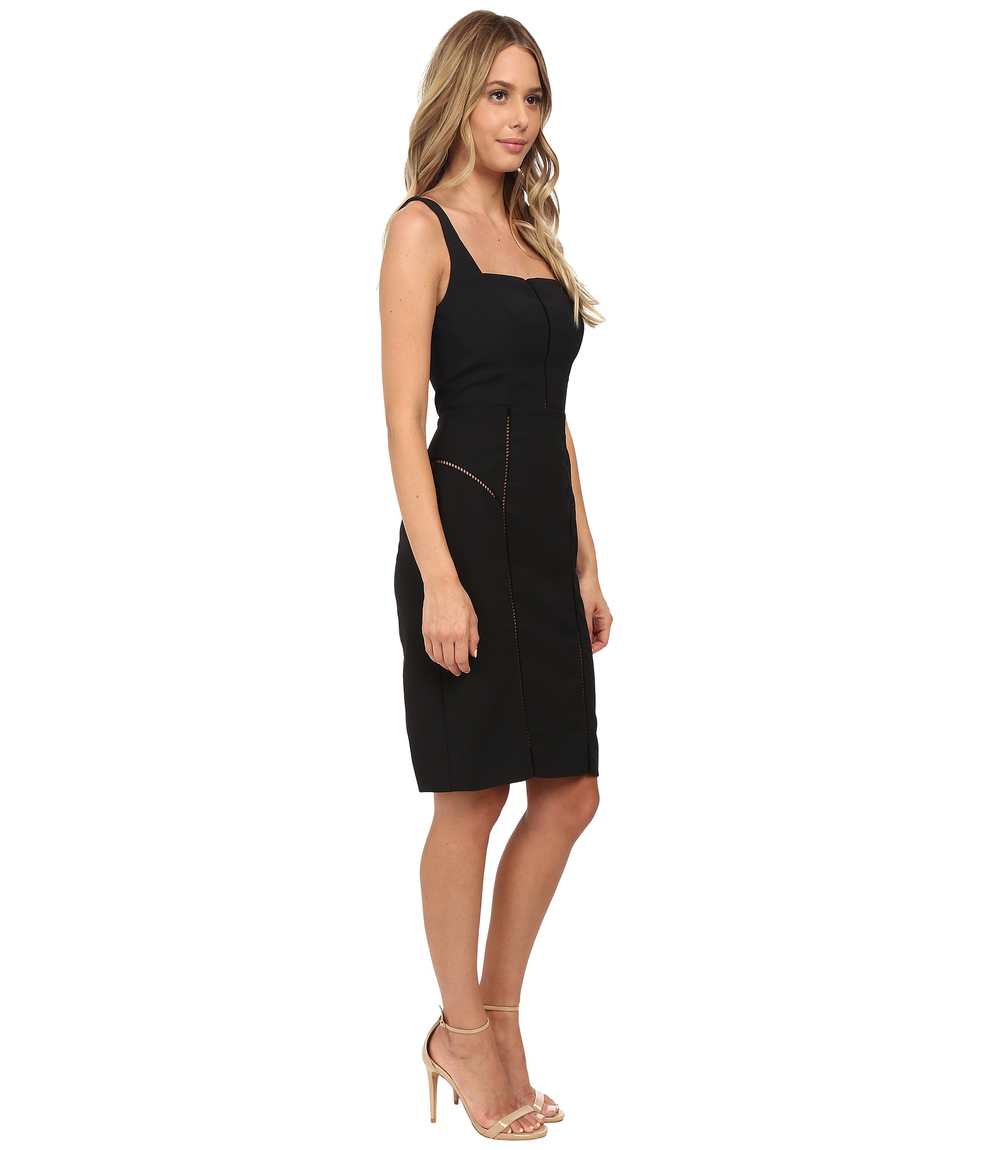 Lyst Nicole Miller Alaiya Square Neck Cocktail Dress In Black
