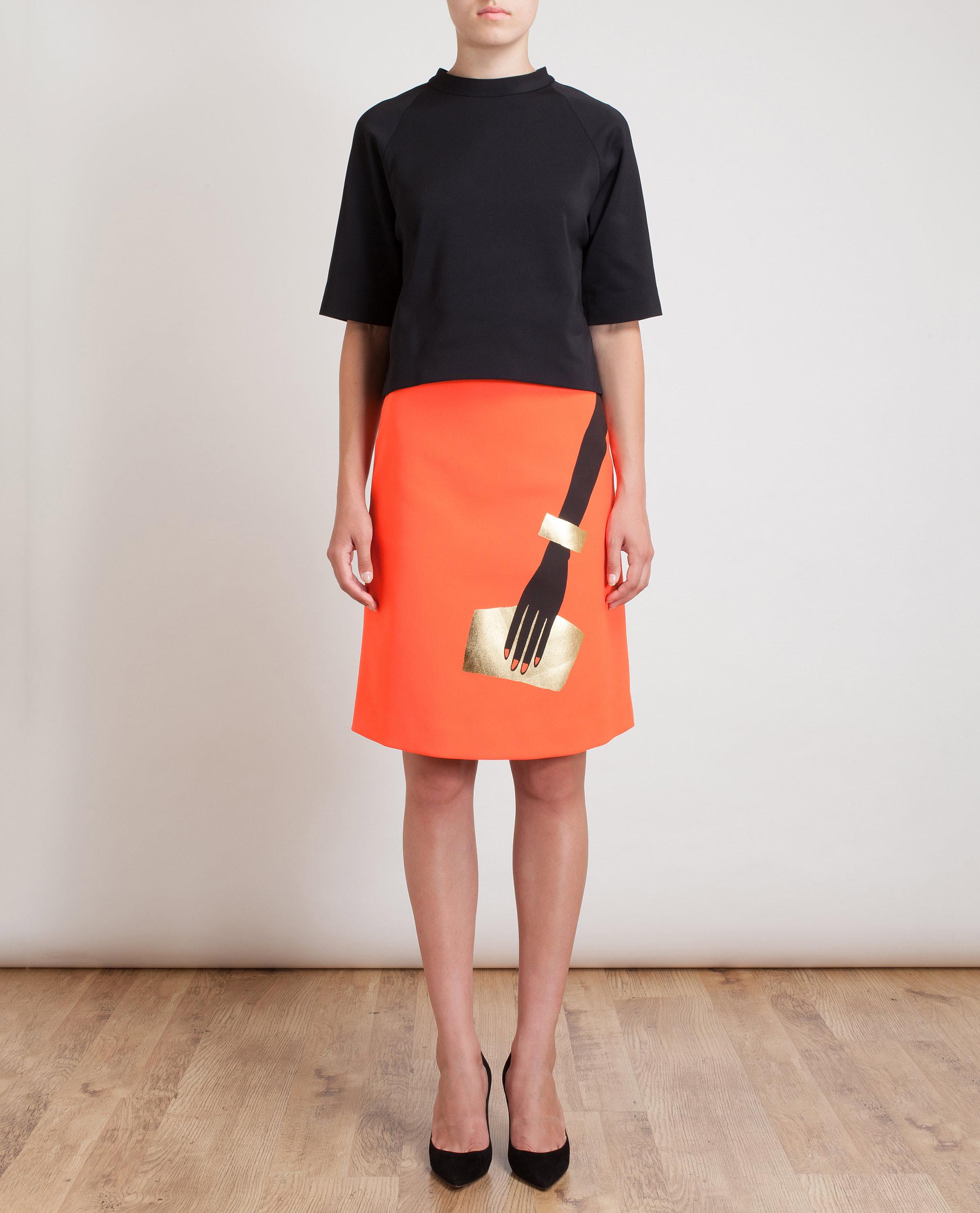 OSMAN Hand Print Skirt in Orange