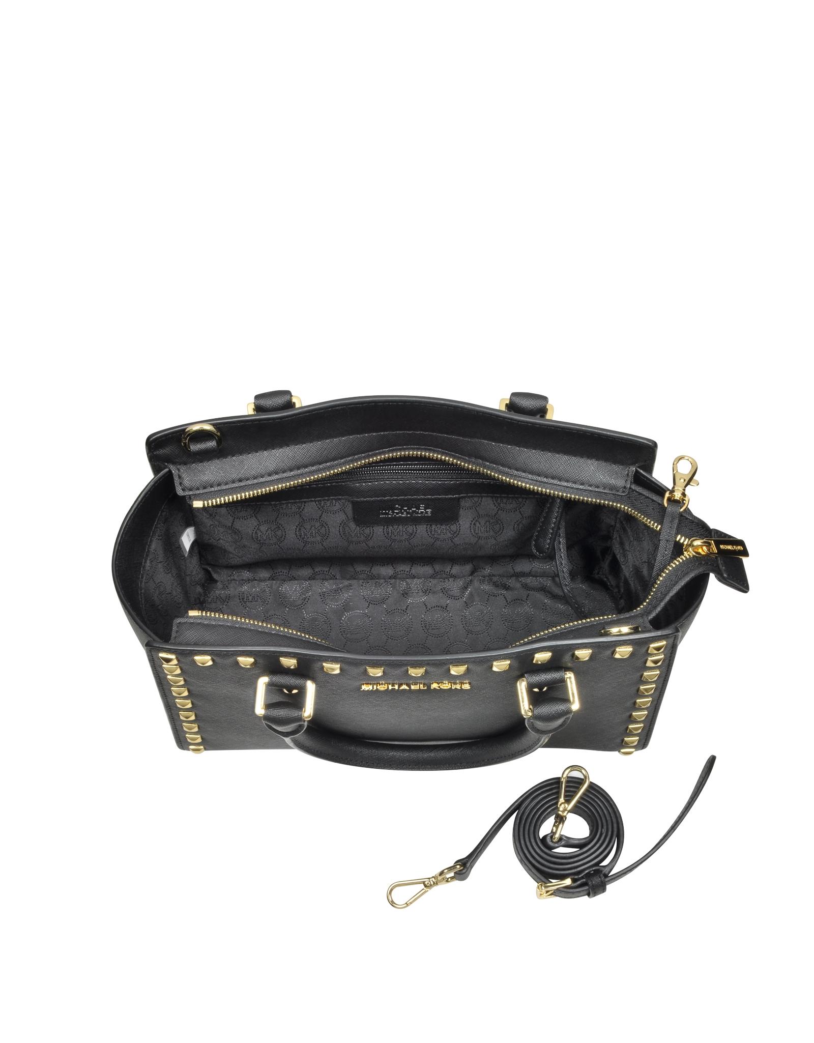 ba3b31a5faf0 Lyst - Michael Kors Selma Medium Studded Black Saffiano Leather Satchel in  Black