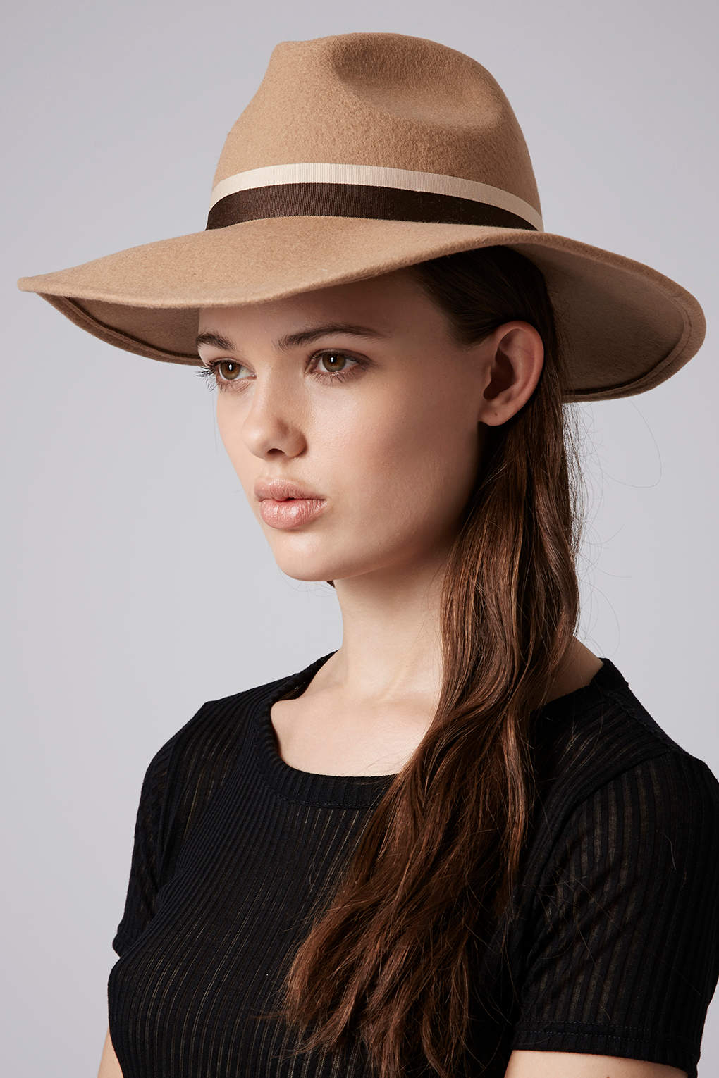 Topshop Womens Wide Brim Fedora Hat Camel in Natural | Lyst