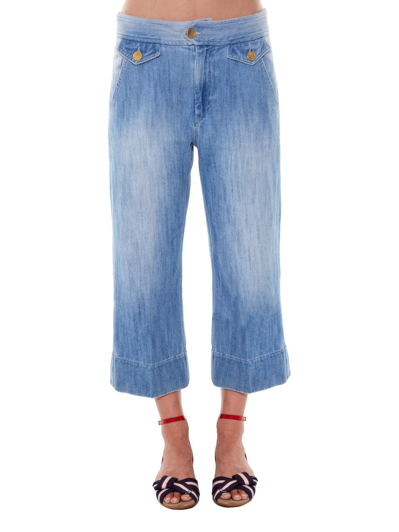 Étoile isabel marant Orsen Cropped Flared Jeans in Blue