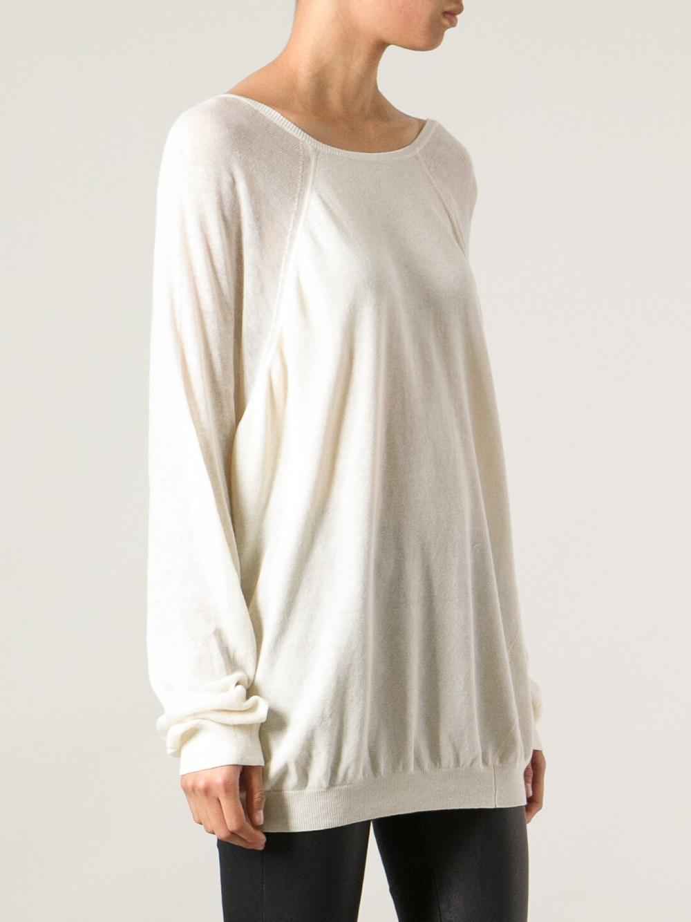 haider ackermann low vneck back sweater in natural lyst. Black Bedroom Furniture Sets. Home Design Ideas