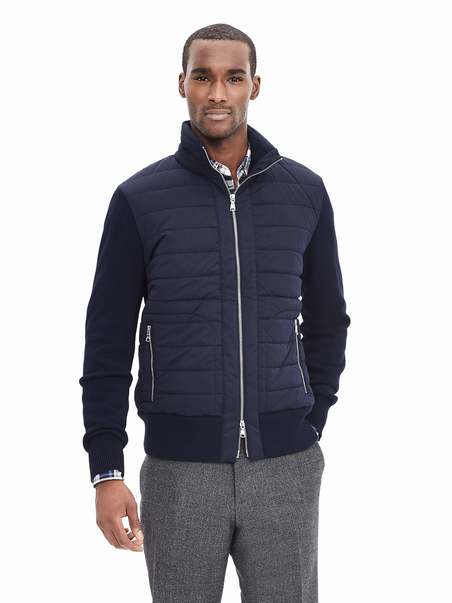 Banana Republic Navy Quilted Zip Jacket In Blue For Men Lyst