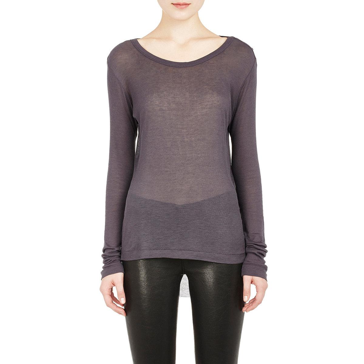 Ann demeulemeester women 39 s raw edge long sleeve t shirt in for Raw edge t shirt women s