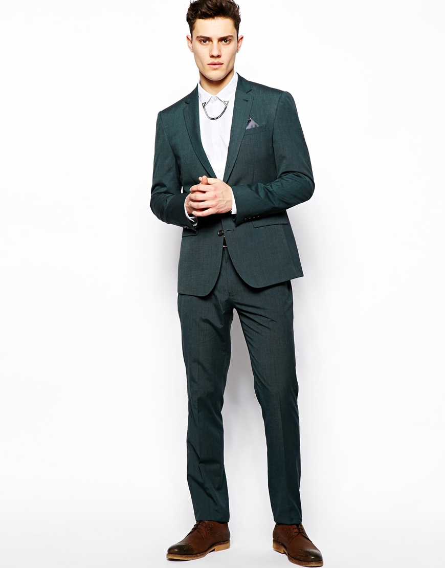 Asos Slim Fit Suit Trousers In Green Pindot in Green for Men | Lyst