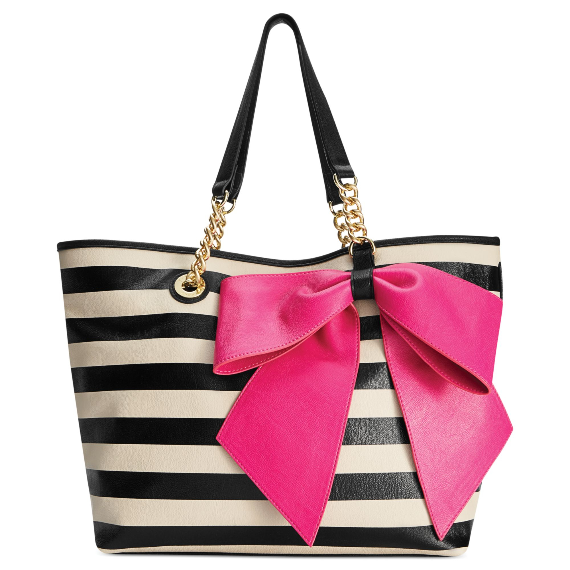 Betsey Johnson Bowtastic Tote in Beige (Large Black Stripe ...