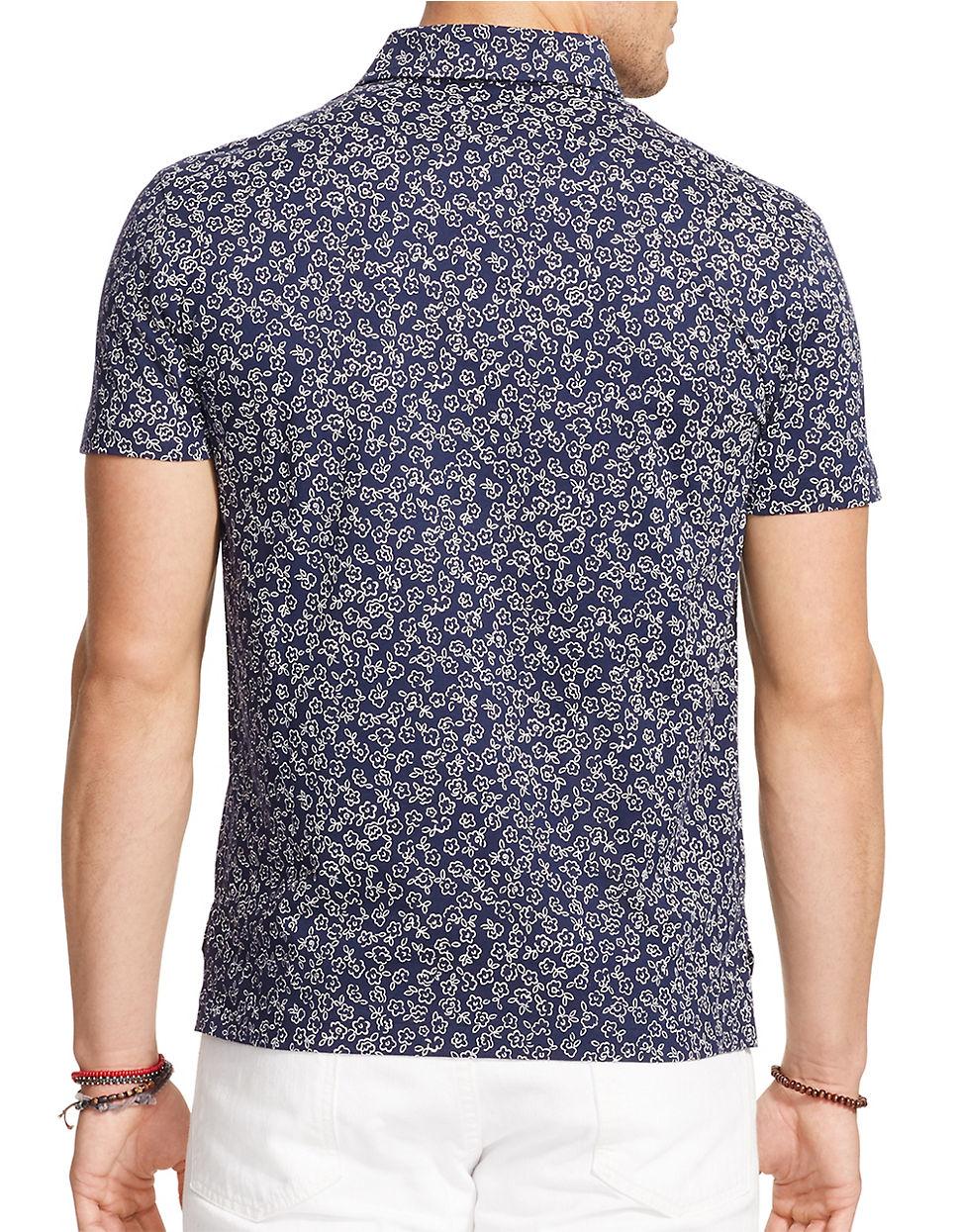 Polo ralph lauren floral jersey shirt in blue for men lyst for Ralph lauren polo jersey shirt