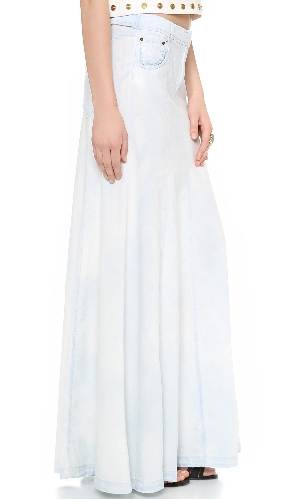 zoe amelia chambray maxi skirt in blue lyst