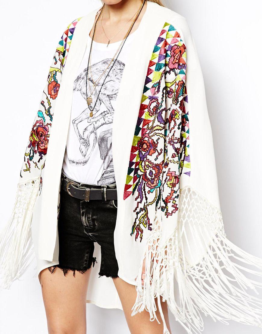 Asos Embroidered Kimono | Lyst