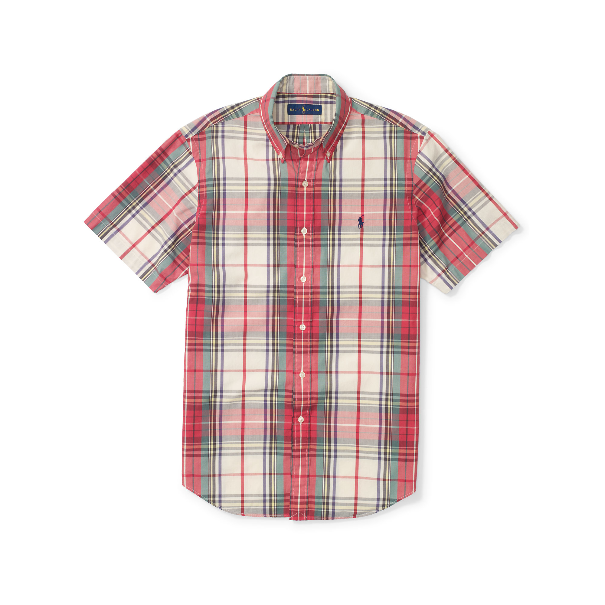 Lyst polo ralph lauren plaid short sleeve shirt in green Short sleeve plaid shirts