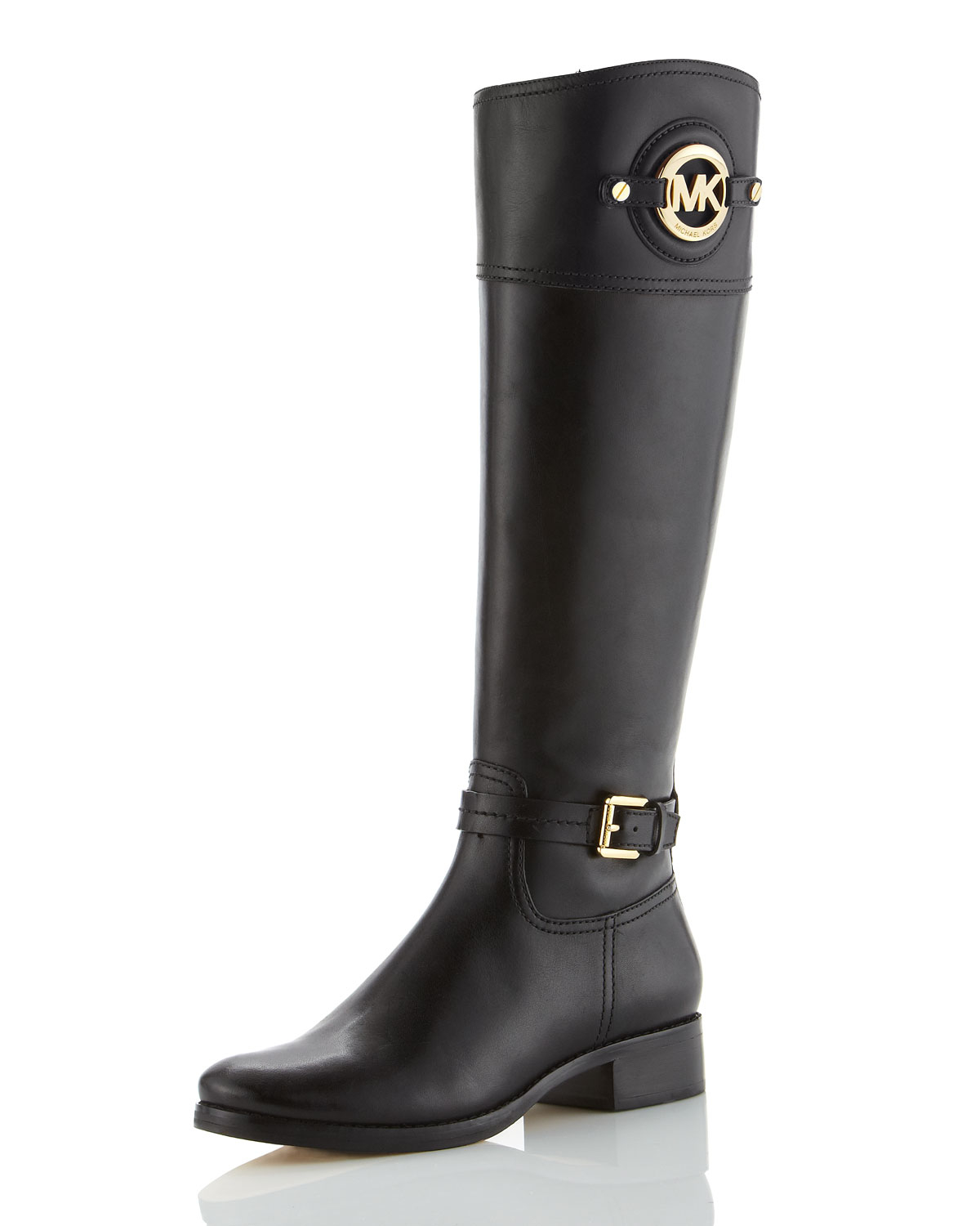 Michael michael kors Stockard Leather Riding Boot in Black | Lyst