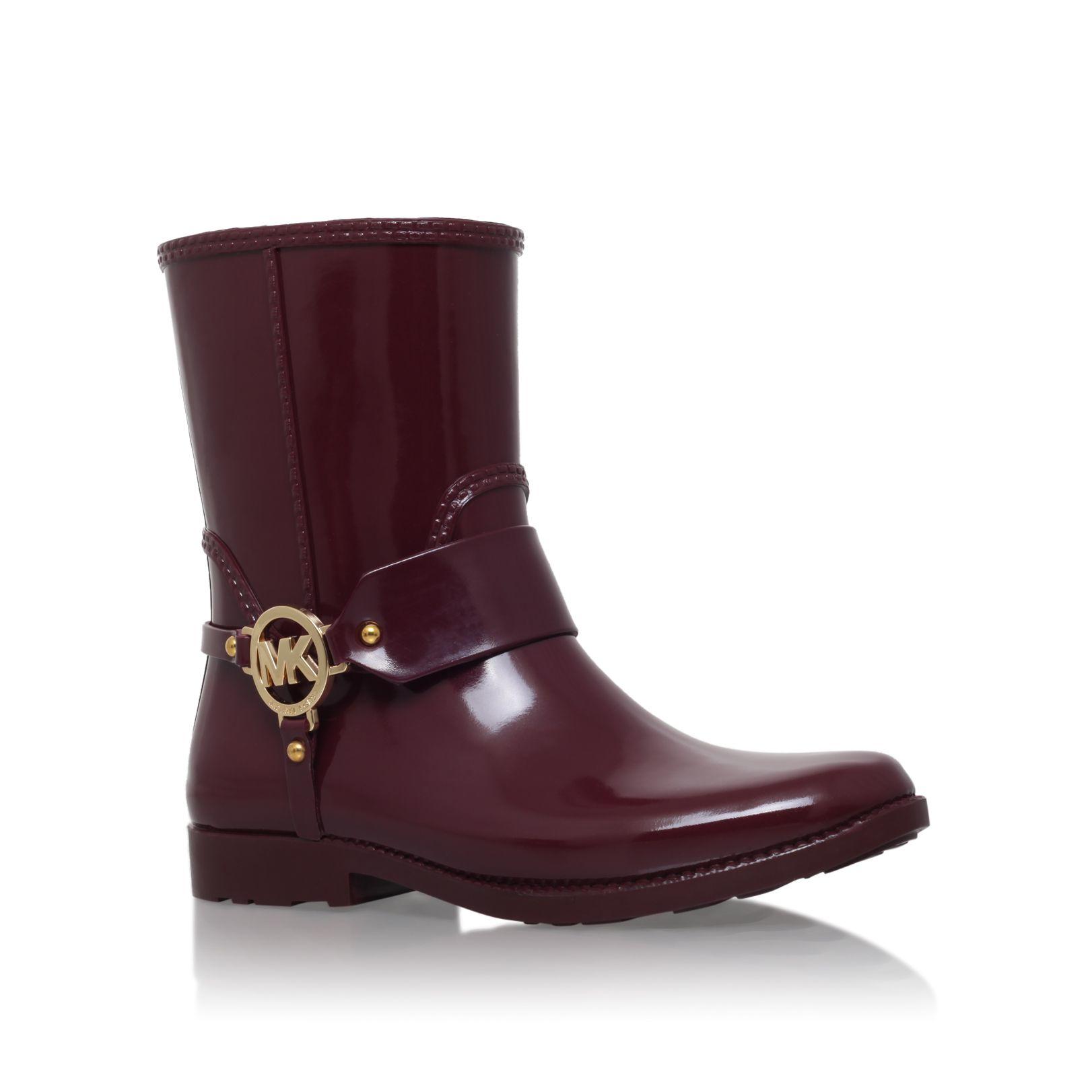 Michael Kors Rubber Mk Croco Rain Short Boots In Red Lyst